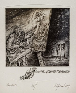 Leonid Stroganov: 'loneliness', 2015 Etching, Erotic. Artist Description: This is the scene in the artist s studio. A beautiful woman depict on a canvas, and creator, play the lute. But he is absolutely alone   ...