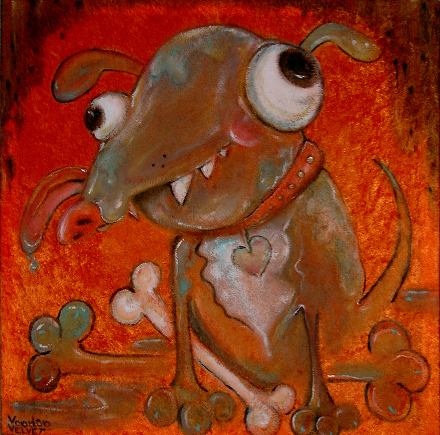 Voodoo Velvet  'I Brought The Dog', created in 2011, Original Painting Acrylic.