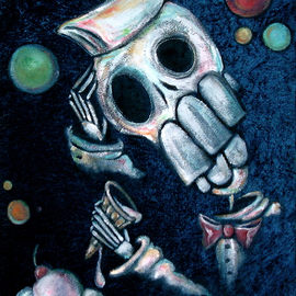 Voodoo Velvet: 'Whats Important ', 2011 Acrylic Painting, Death. Artist Description:  Acrylic painted on blue velvet, velvet painting. Come see the bizarre, the beautiful, the surreal!One of a kind original velvet paintings, created for your enjoyment.  For more information visit: www. voodoovelvet. com ...