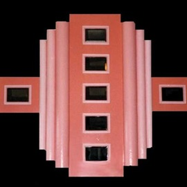 Vicki Place: 'peach', 2008 Wood Sculpture, Abstract. Artist Description: Art deco design in wood with enamel paint...