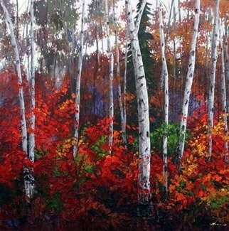 Trees Acrylic Painting by Jennifer Vranes Title: Autumn Fiesta, created in 2008