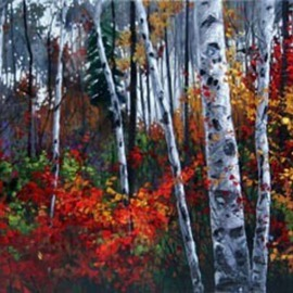 Jennifer Vranes: 'Jewels of Autumn', 2008 Acrylic Painting, Trains.