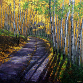 Jennifer Vranes Artwork Pathway through the Quaking Aspens, 2008 Acrylic Painting, Trees
