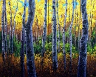 Trees Acrylic Painting by Jennifer Vranes Title: Sunlit Forest Diptych, created in 2008