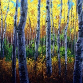 Jennifer Vranes Artwork Sunlit Forest Diptych, 2008 Acrylic Painting, Trees