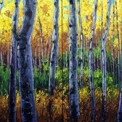 , Sunlit Forest Diptych, Trees, Sold