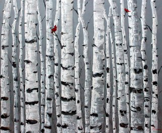 Jennifer Vranes: 'love birds', 2017 Acrylic Painting, Trees. Aspen Art, Monochromatic, Jennifer Vranes, JensArt, The Aspen Artist, Red Cardinal...