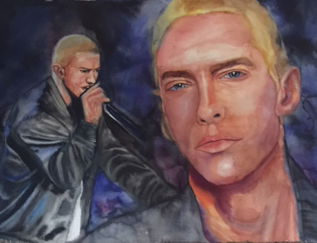 Ginger Czarnecki  'Eminem', created in 2018, Original Drawing Charcoal.