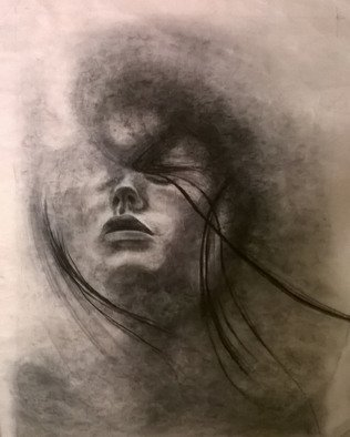 Ginger Czarnecki: 'ethereal reflection', 2018 Charcoal Drawing, Portrait. Artist Description: Charcoal portriat of a woman s reflectionin water...