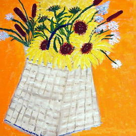 Vincent Sferrino Artwork Flower Basket, 2013 Acrylic Painting, Floral