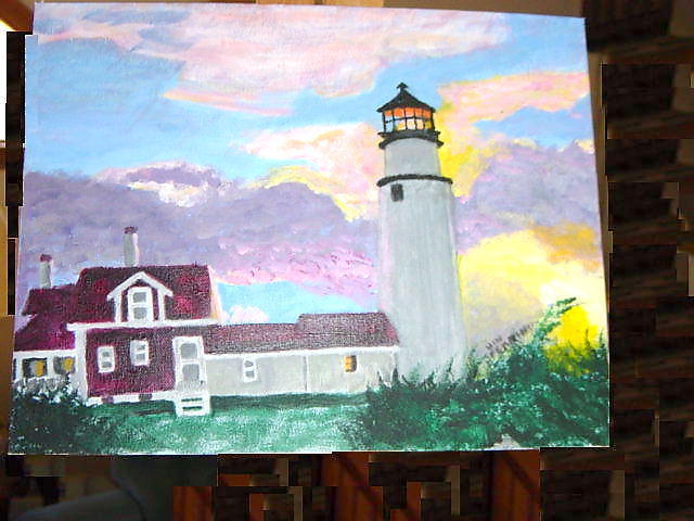 Vincent Sferrino  'Skylit Lighthouse', created in 2003, Original Painting Acrylic.