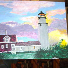 Vincent Sferrino Artwork Skylit Lighthouse, 2003 Acrylic Painting, Scenic