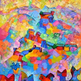 Vyara Tichkova: 'bellinzona', 2018 Oil Painting, World Culture. Artist Description: vyara tichkova, oil, canvas, painting, bellinzona, switzerland, city, town, castles, mountain, castleview, view, colorfull...