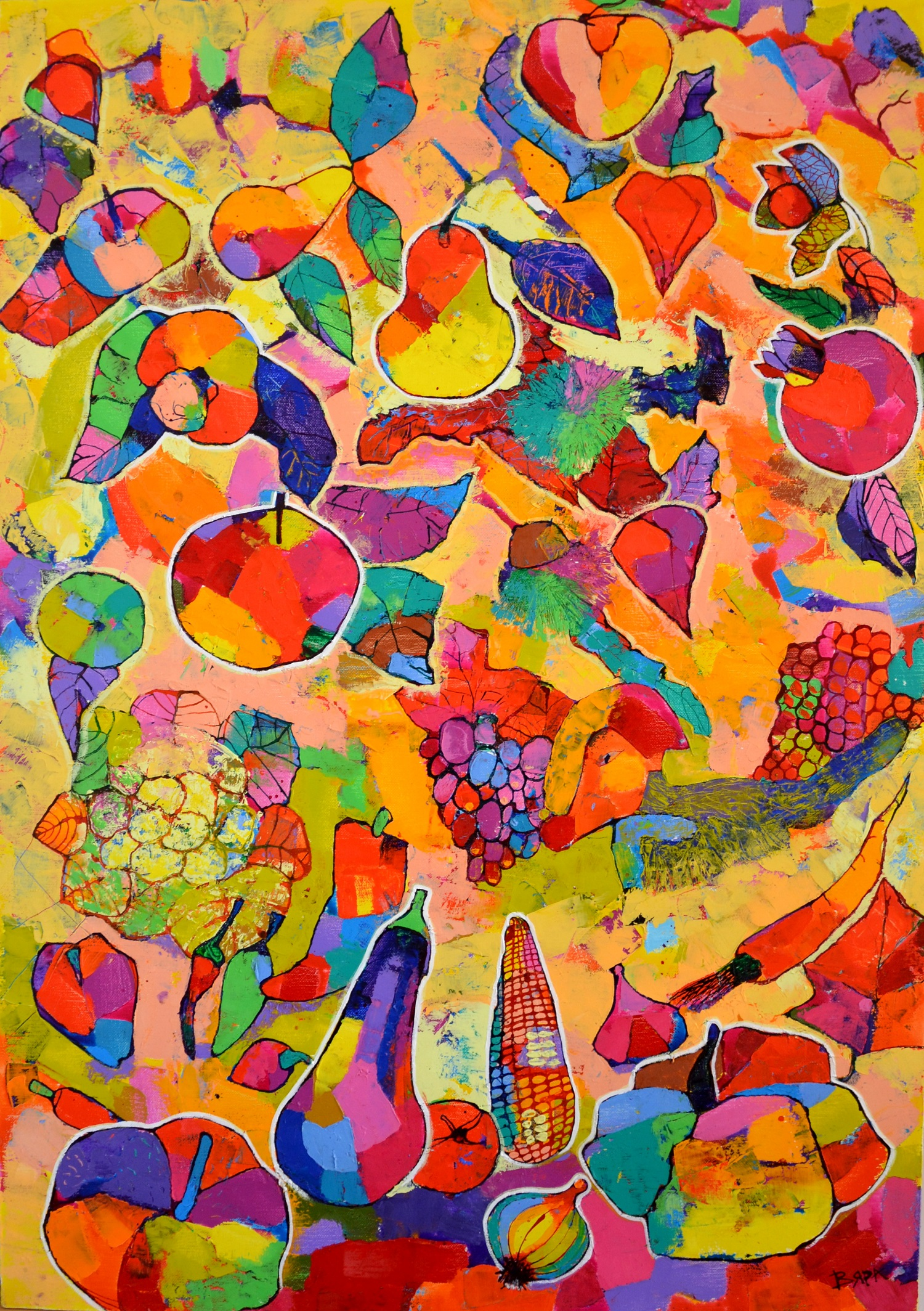 Vyara Tichkova: 'fruits', 2019 Oil Painting, Food. Artist Description: vyara tichkova, oil, canvas, painting, fruits, autumn, colorful, vegetables, apple, pear, eggplant, pumpkin, tomato, gabagge, pepper, onion, carrot, fox, grape, ...