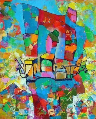 Vyara Tichkova: 'locarno', 2018 Oil Painting, Architecture. Artist Description: vyara tichkova, oil, canvas, painting, locarno, switzerland, balcony, chair, window, city, town, cityscape, terrace, colorfull...