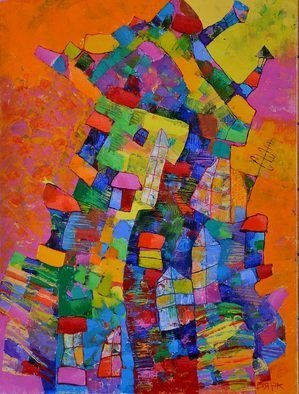 Vyara Tichkova: 'my neighbours', 2017 Oil Painting, Architecture. Artist Description: vyara tichkova, oil, canvas, painting, condominium, neighbours, architecture, house, windows, doors, roof, colorfull...