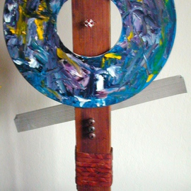 Randall Fox: 'MARCUS AURELIUS ABSTRACTED MEDITATIONS ', 2012 Mixed Media Sculpture, Abstract Figurative. Artist Description:   ALUMINUM MEMORY PLATTER/ DISC, OIL PAINT, LEATHER, STAINLESS STEEL, TITANIUM, WOOD, COPPER TEFLON- NYLON CB, SILVER W/ T STONES      ...