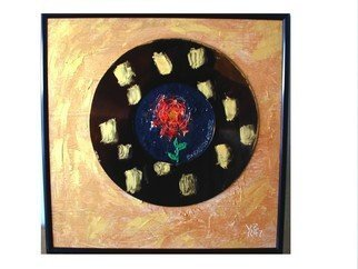 Randall Fox: 'Tudor Rose memory of the color of the future memory', 1997 Other Painting, Healing. Artist Description:  original tile . England' s Rose. w/ t reference/ homage to Princess Diana of England tragic passing.Gold Splash: in my art, is a historical reference of the past of gold splashed Chinese Bronzes.   ...