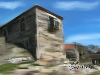 Jose Carvalho: 'StoneHouse', 2014 Digital Drawing, World Culture. Artist Description:  Stone House In Boimo, Portugal      ...