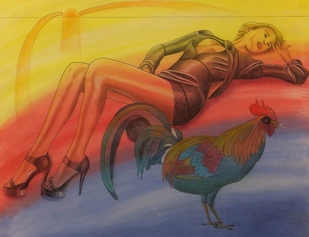 Walter Fydryck: 'all nighter', 2014 Other Drawing, Birds. Artist Description: Women with bird...