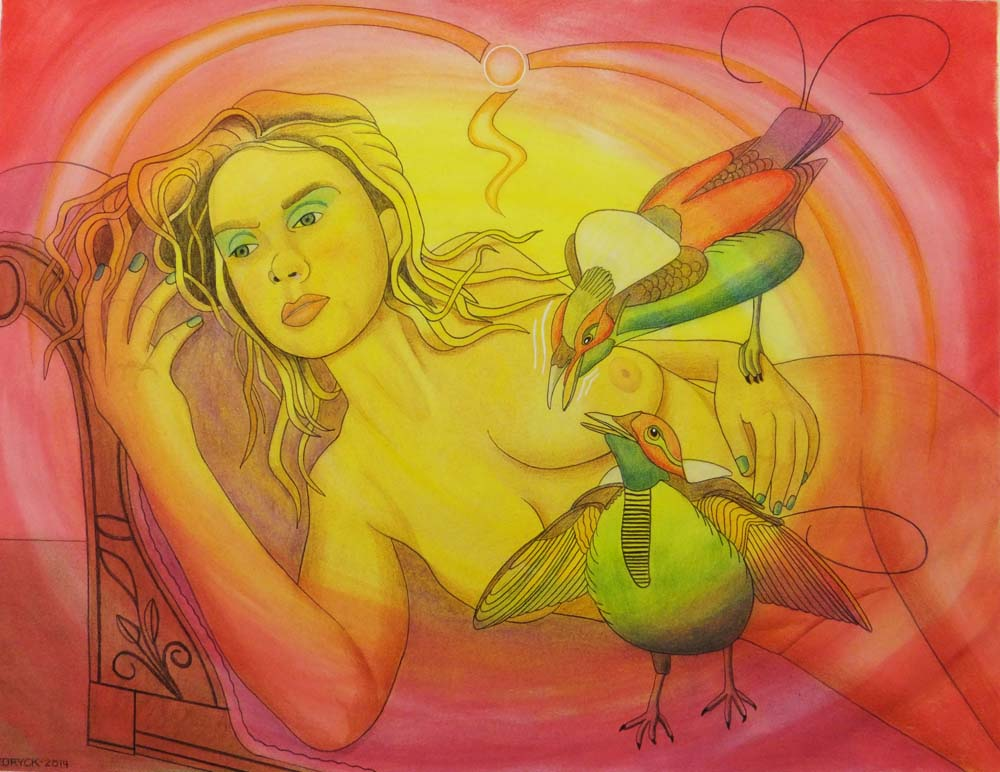Walter Fydryck: 'discontent in paradise', 2014 Other Drawing, Birds. Artist Description: Woman With Bird...