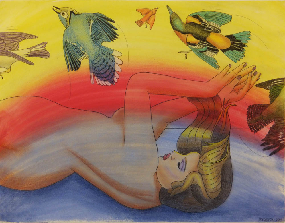 Walter Fydryck: 'elusive realms', 2014 Other Drawing, Birds. Artist Description: Women with birds...