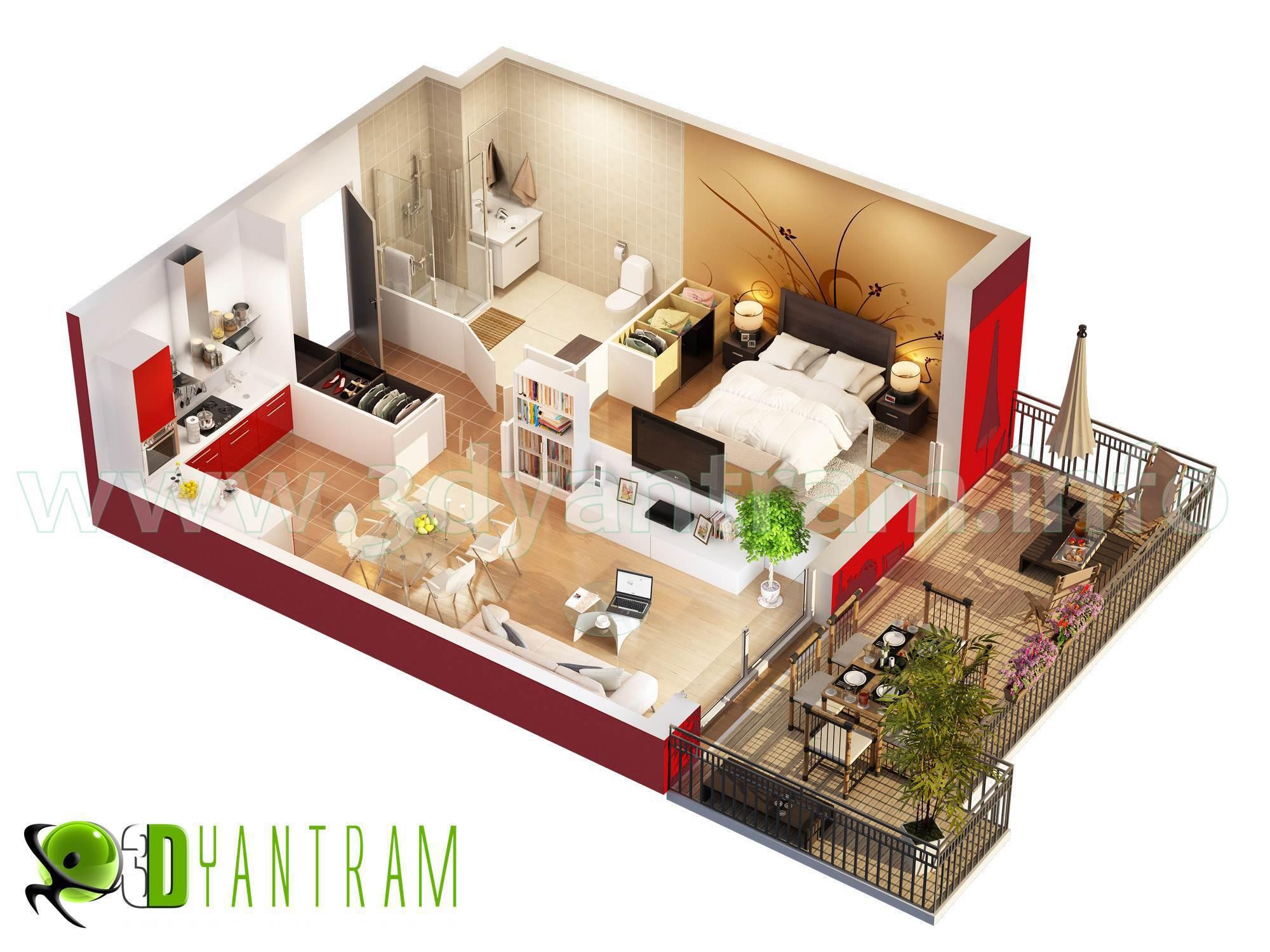 Ruturaj Desai Artwork 3D Home floor plan Design Manila