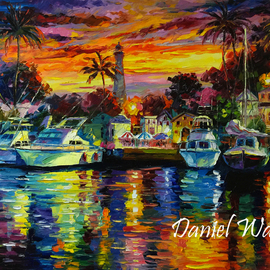 Daniel Wall Artwork Hawaii Fishing Harbor At Dusk, 2015 Oil Painting, Landscape