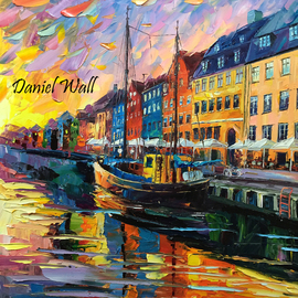 Daniel Wall Artwork Merry Christmas Copenhagen, 2015 Oil Painting, Landscape