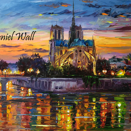 Daniel Wall Artwork Merry Christmas Notre Dame, 2015 Oil Painting, Landscape