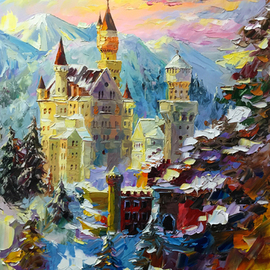 Daniel Wall Artwork Neuschwanstein Castle at Dusk, 2015 Oil Painting, Landscape
