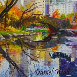 Daniel Wall Artwork Reflection, 2015 Oil Painting, Cityscape