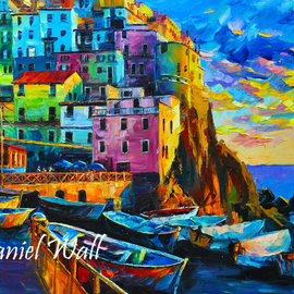 Daniel Wall Artwork Sunset over Manarola, 2015 Oil Painting, Cityscape