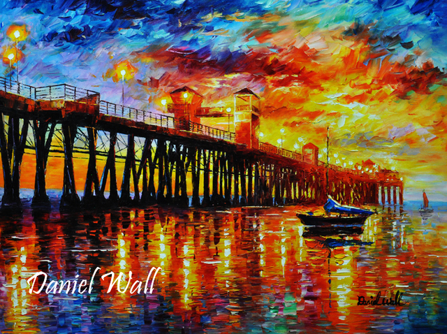 Daniel Wall 'Twilight over Oceanside Pier CA'   Painting ...
