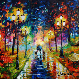 Daniel Wall: 'a wonderful night', 2020 Oil Painting, Landscape. Artist Description: A Wonderful Night, Romance, park, ...