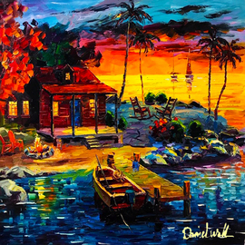 Daniel Wall: 'beautiful life', 2019 Oil Painting, Landscape. Artist Description: Vacation Cabin...