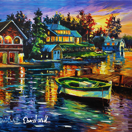Daniel Wall: 'beautiful living', 2020 Oil Painting, Landscape. Artist Description: Lake, cabin, island, vacation home...