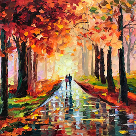 Daniel Wall: 'beautiful night', 2018 Oil Painting, Landscape. Artist Description: Evening Dinner, evening walk, romantic walk talk, Lovely walk dinner. Intense impressionism, intense impressionist, extreme impressionism, extreme impressionist. world famous renowned artist Daniel Wall...