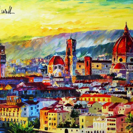 Daniel Wall: 'florence sunset', 2020 Oil Painting, Landscape. Artist Description: Florence Sunset, Italy, Florence, Venice...