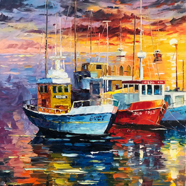 Daniel Wall: 'happy weekend', 2018 Oil Painting, Seascape. Artist Description: Boat, ship, harbor, beach, cruise, Weekend fun, Intense impressionism, intense impressionist, extreme impressionism, extreme impressionist. world famous reknown artist daniel wall...