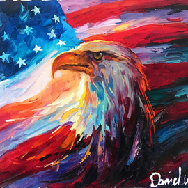 Daniel Wall: 'liberty soars', 2020 Oil Painting, Landscape. Artist Description: Liberty Statue, Eagle, Flag, patriate, patriotism, patriotic...