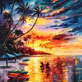 Daniel Wall: 'romantic caribbean island', 2020 Oil Painting, Landscape. Artist Description: Romantic Caribbean Island...
