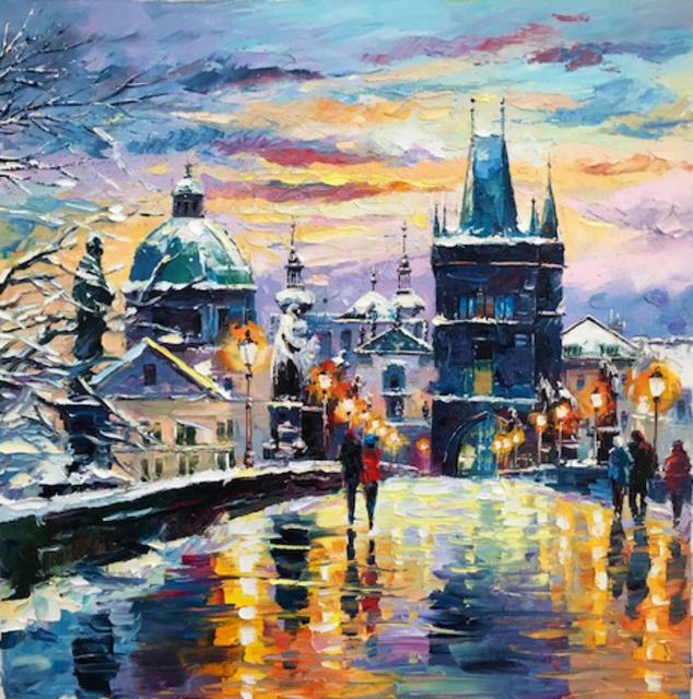 Daniel Wall Artwork Snowing Prague Original Painting