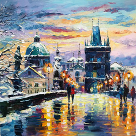 Daniel Wall: 'snowing prague', 2018 Oil Painting, Landscape. Artist Description: Intense impressionism, intense impressionist, extreme impressionism, extreme impressionist. world famous renowned artist Daniel Wall. Europe, european landscape. Oil Painting, Oil paintings. ...