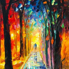 Daniel Wall: 'spring night stroll', 2018 Oil Painting, Landscape. Artist Description: Spring, spring night walk, night stroll, night love. Intense impressionism, intense impressionist, extreme impressionism, extreme impressionist. world famous renowned artist Daniel Wall...