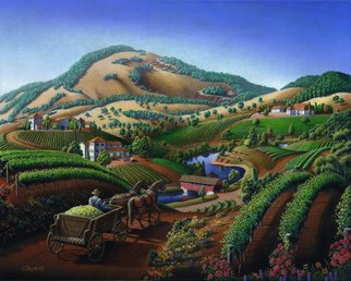 Walt Curlee: 'Wine Country Landscape', 2015 Oil Painting, Landscape. Artist Description:  old, wine country landscape, landscape painting, napa valley winery, grapes, vintage wine americana, vintage, americana, vineyard, vineyard painting, california, river valley, tuscan painting, tuscany painting, tuscan, tuscany, painting, napa valley, historic, wine, 1930, panorama, yellow grapes, moscato grape, decor, wine country decor, viticulture, northern, napa valley painting, winery, ...