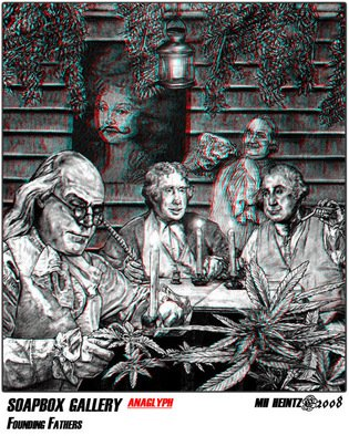 Mh Heintz Artwork Founding Fathers 3D, 2009 Pencil Drawing, Activism
