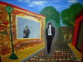 Artist: Walter Ariel Guarracino - Title: Un hombre atrapado entre su futuro y su pasado - Medium: Oil Painting - Year: 2013