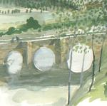 Artist: Walter King, title: Basque Bridge, 1997, Watercolor