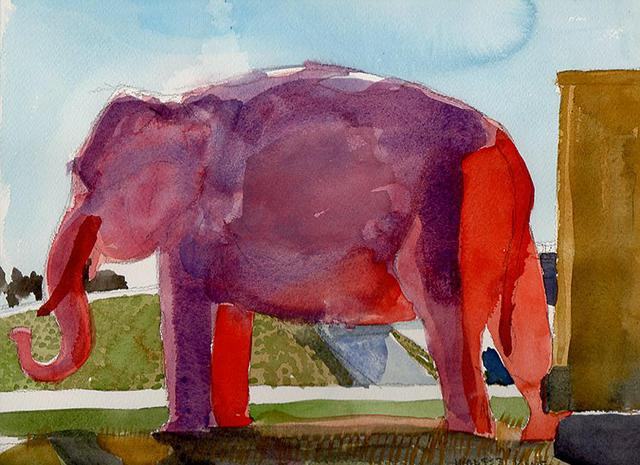 Walter King  'Big Pink Elephant On Interstate 55', created in 2013, Original Collage.